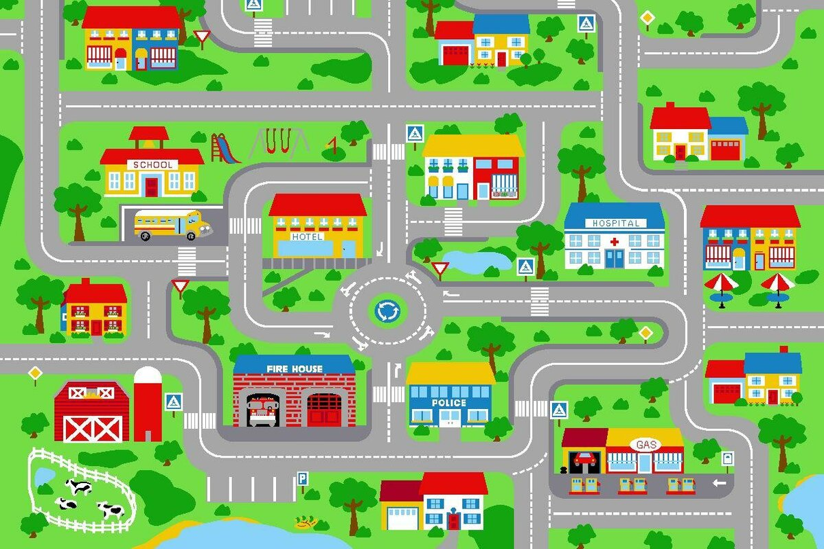 улицы города картинка и дорога пдд