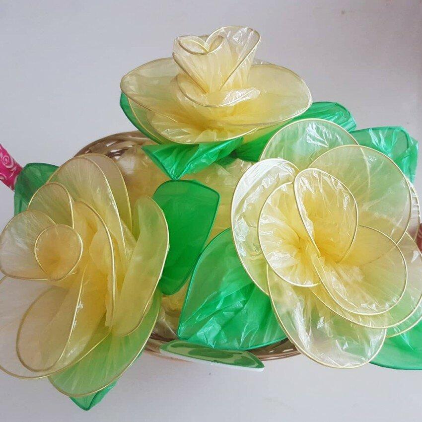 Цветы из целлофановых пакетов фото для начала