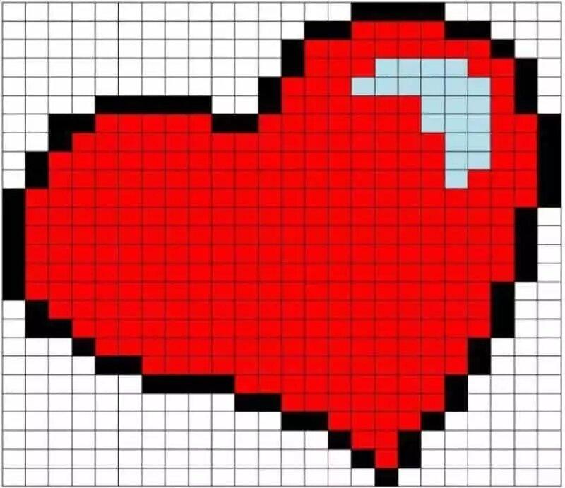 картинки по клеточкам сердечки с флагами