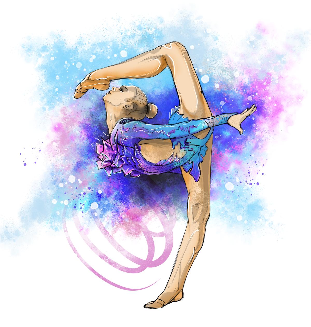 картинки с гимнасткой с с лентой для авы касается