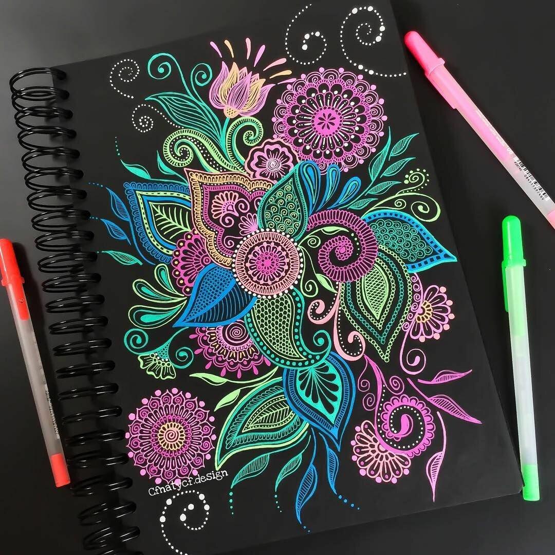 Красивые графические картинки фломастерами и гелевыми ручками
