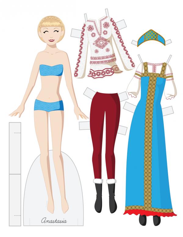 Бумажная кукла с костюмами картинки