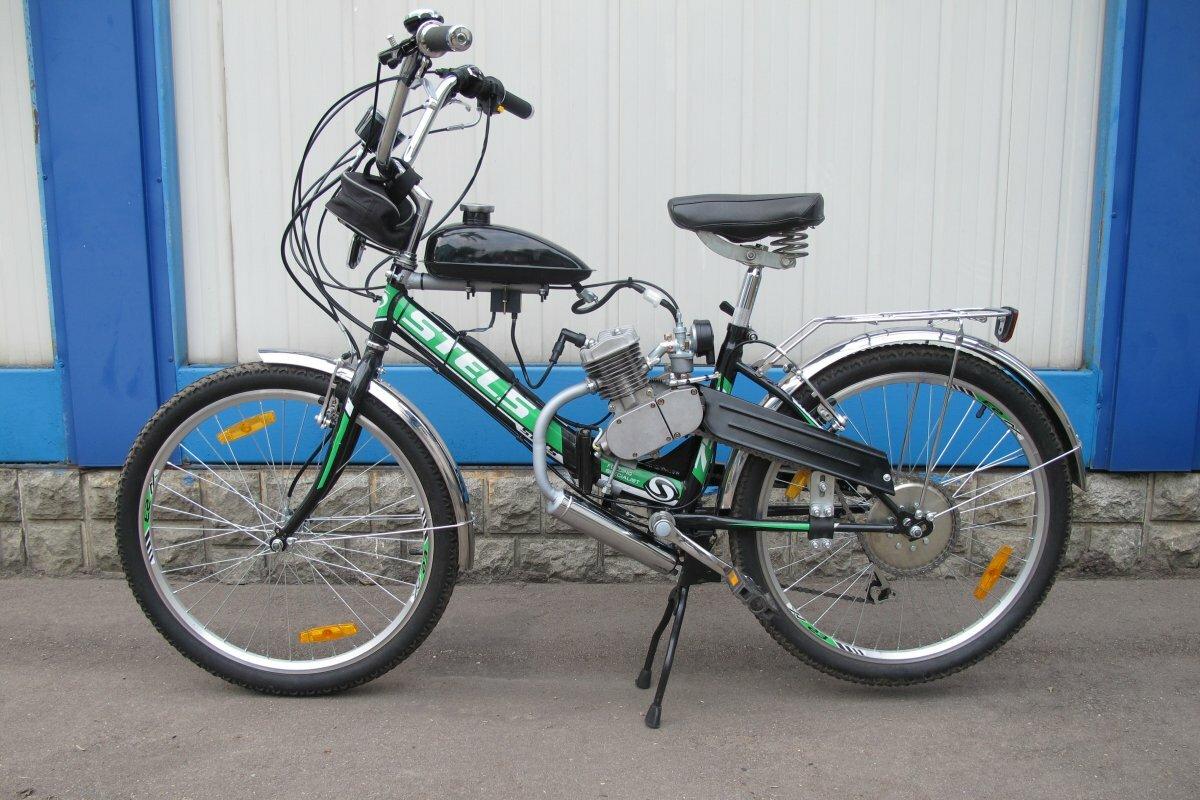 Установка бензинового мотора на складной велосипед Стелс Пилот
