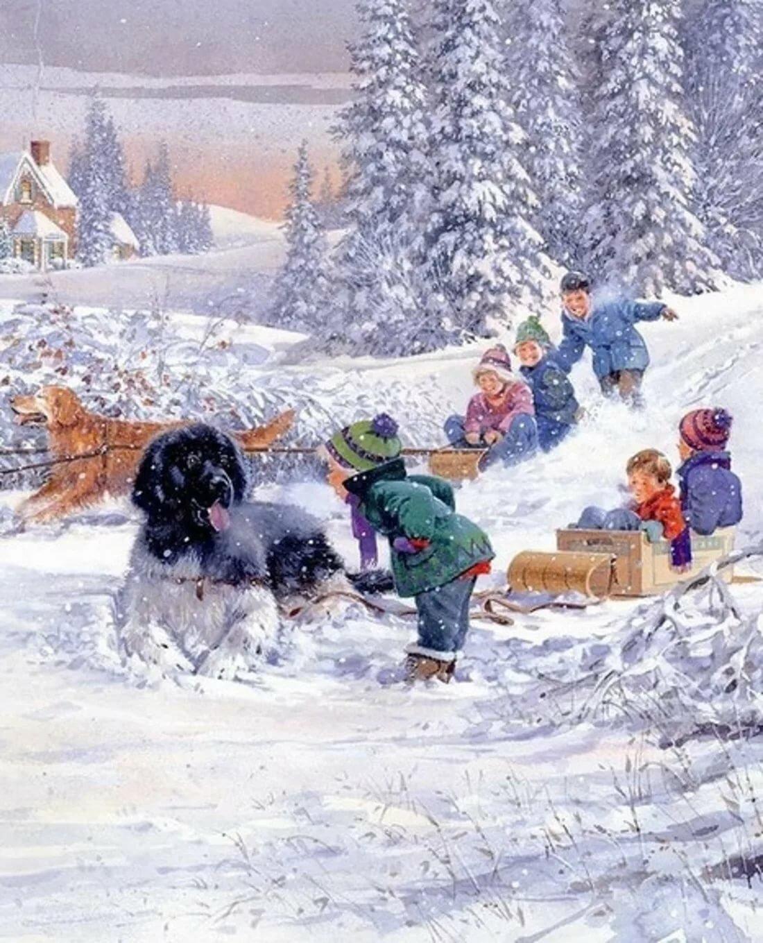 Картинка зимние забавы детворы