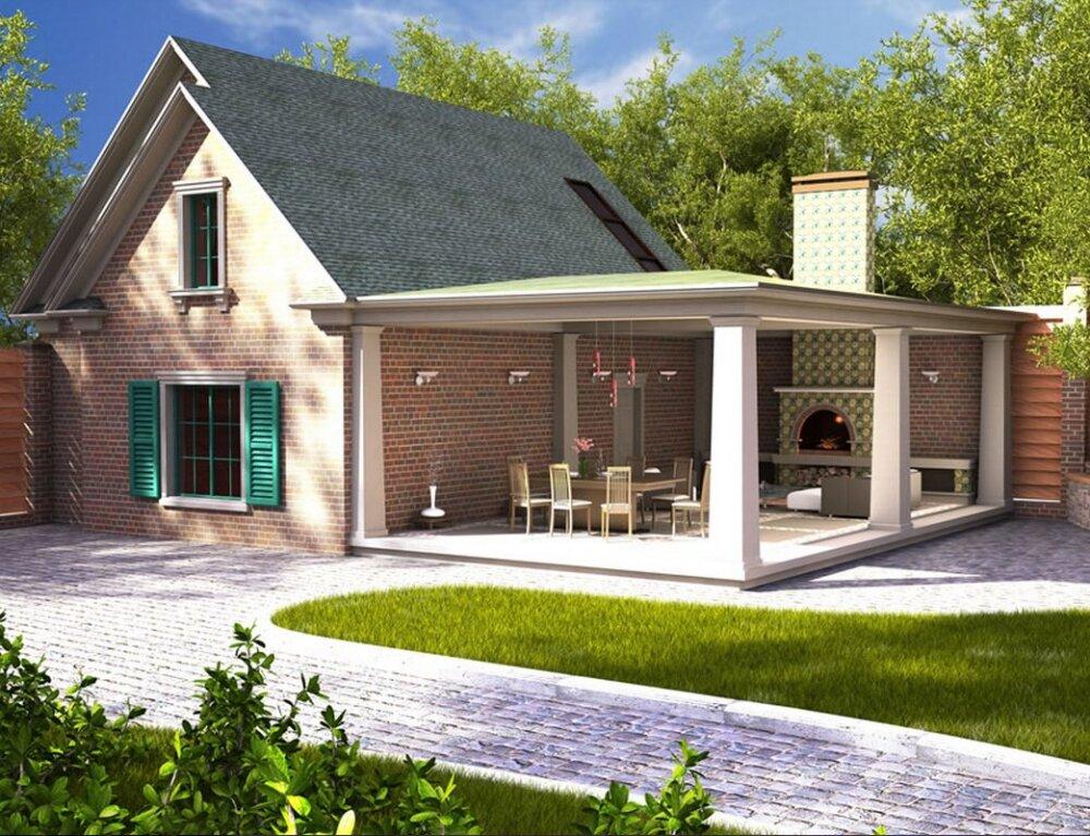 Картинки дома с верандой и гаражом