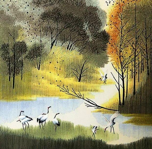 Картинки о лесе с журавлями
