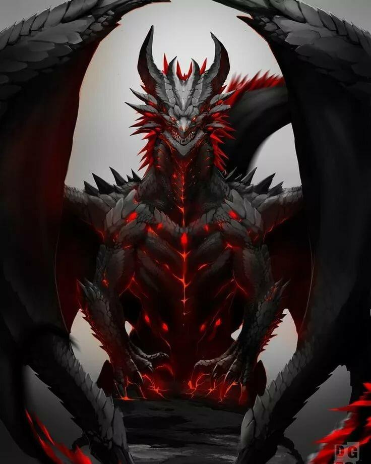 Черно красный дракон картинки