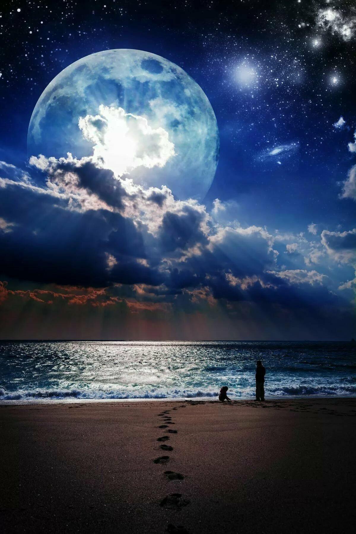 Спокойной ночи с луной картинки с надписями