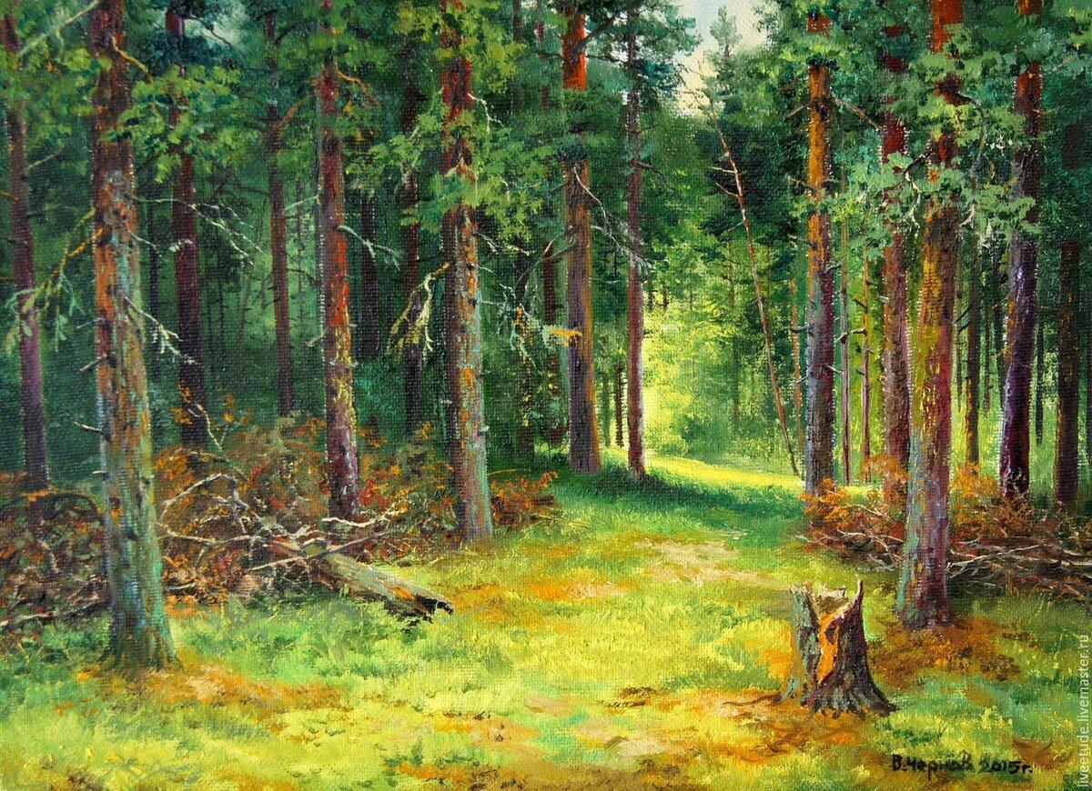 в сосновом лесу рисунок то, что