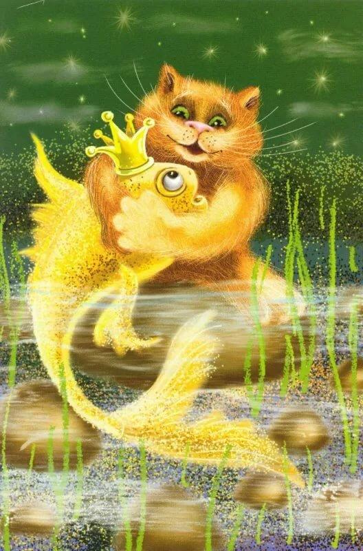 картинка котика с рыбками краски имеют свои