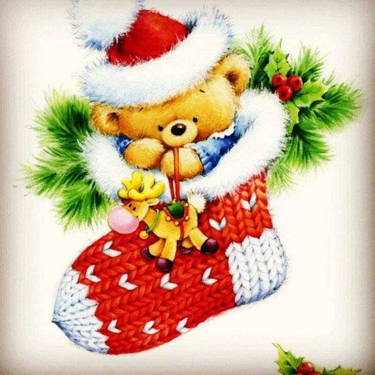 Новогодние картинки мишка в носке