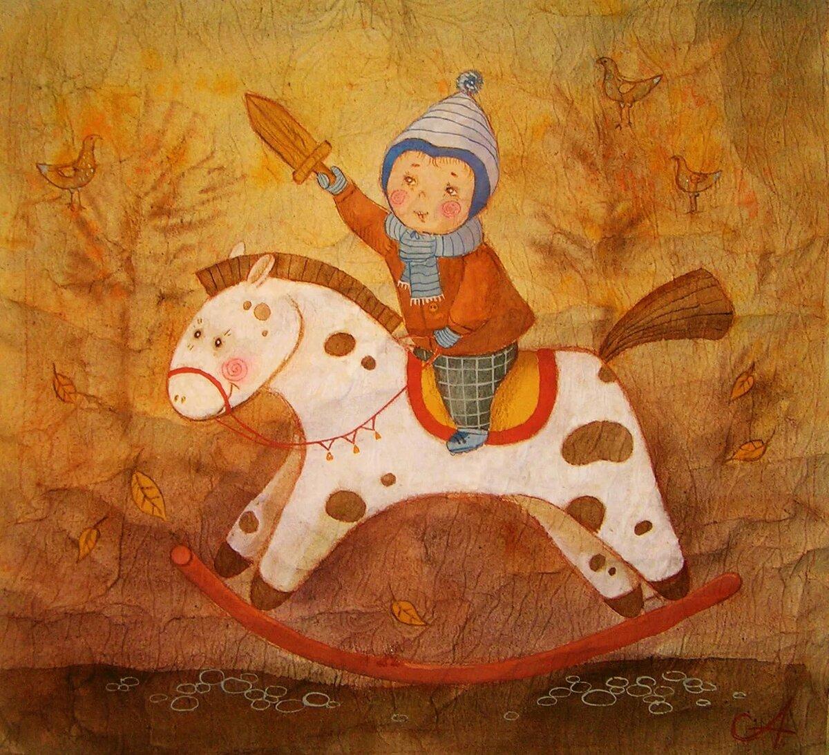 Рисунок к пьесе чайковского игра в лошадки