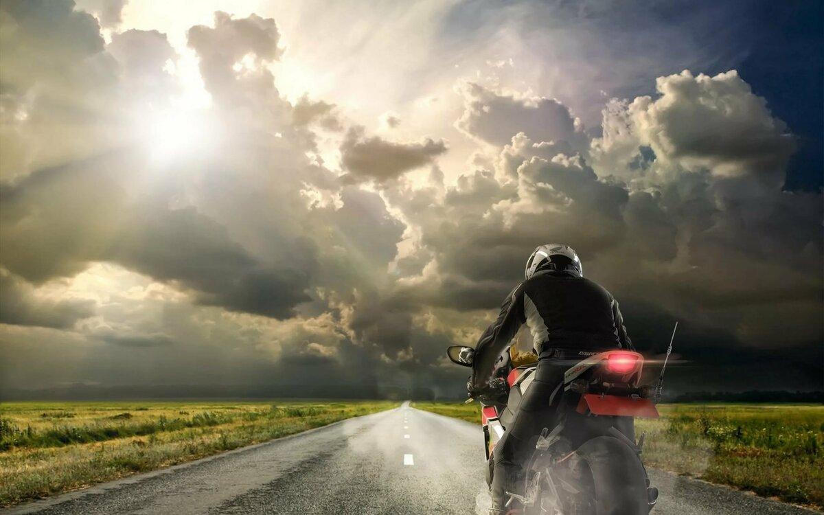 картинки мотоциклистов и закат воздушной части