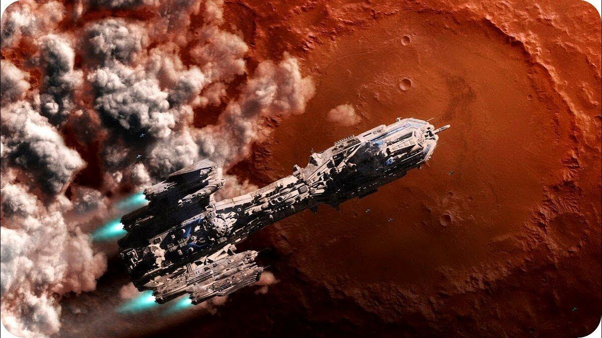 Фотография с космическим кораблем на марсе