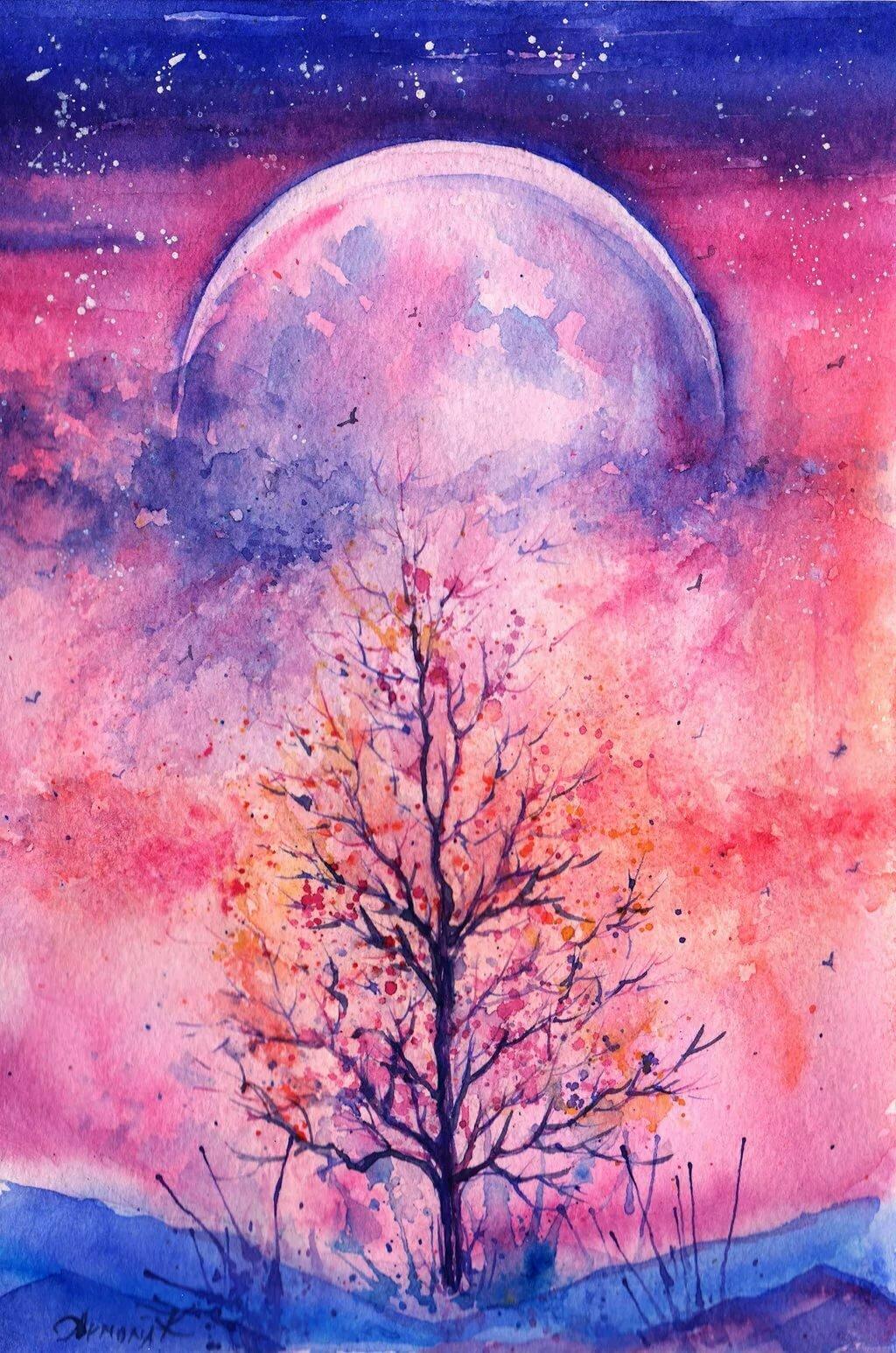 Красивые картинки красками для срисовки легкие