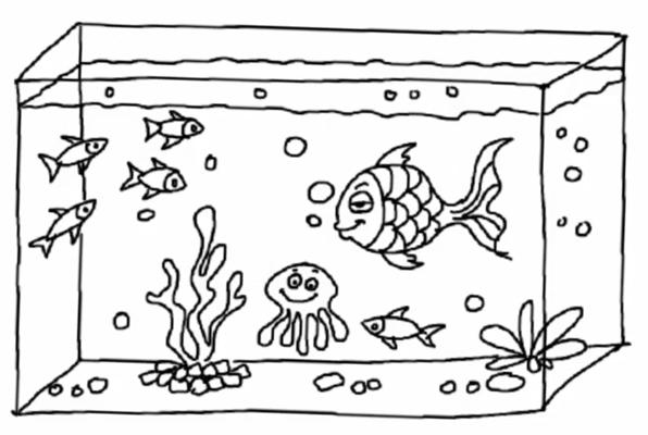 рисунок аквариум с рыбками и водорослями сиде приятная