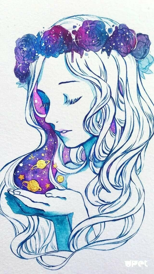 Девочка космос рисунок для срисовки