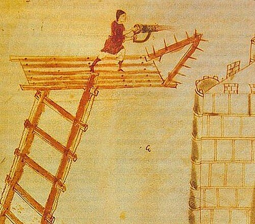 """Воин с ручным огнеметным сифоном.  Из Ватиканской рукописи """"Полиоркетики"""" Герона Византийского (Codex Vaticanus Graecus 1605). IX-XI вв."""