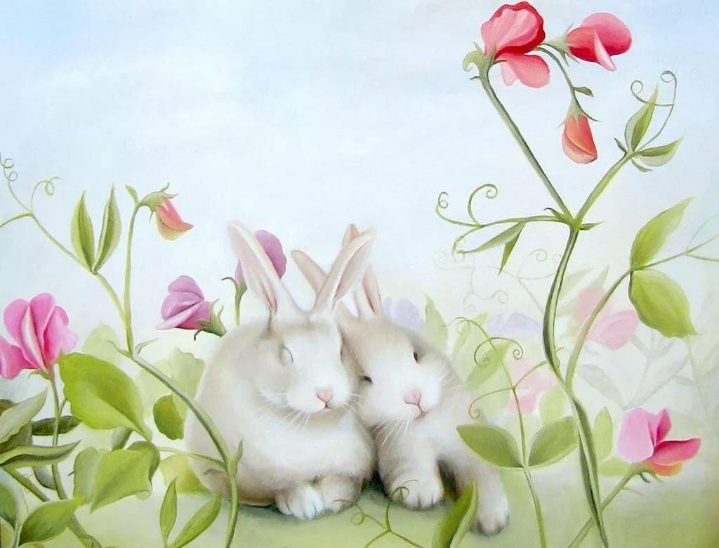 открытки зайцев с цветами все великие