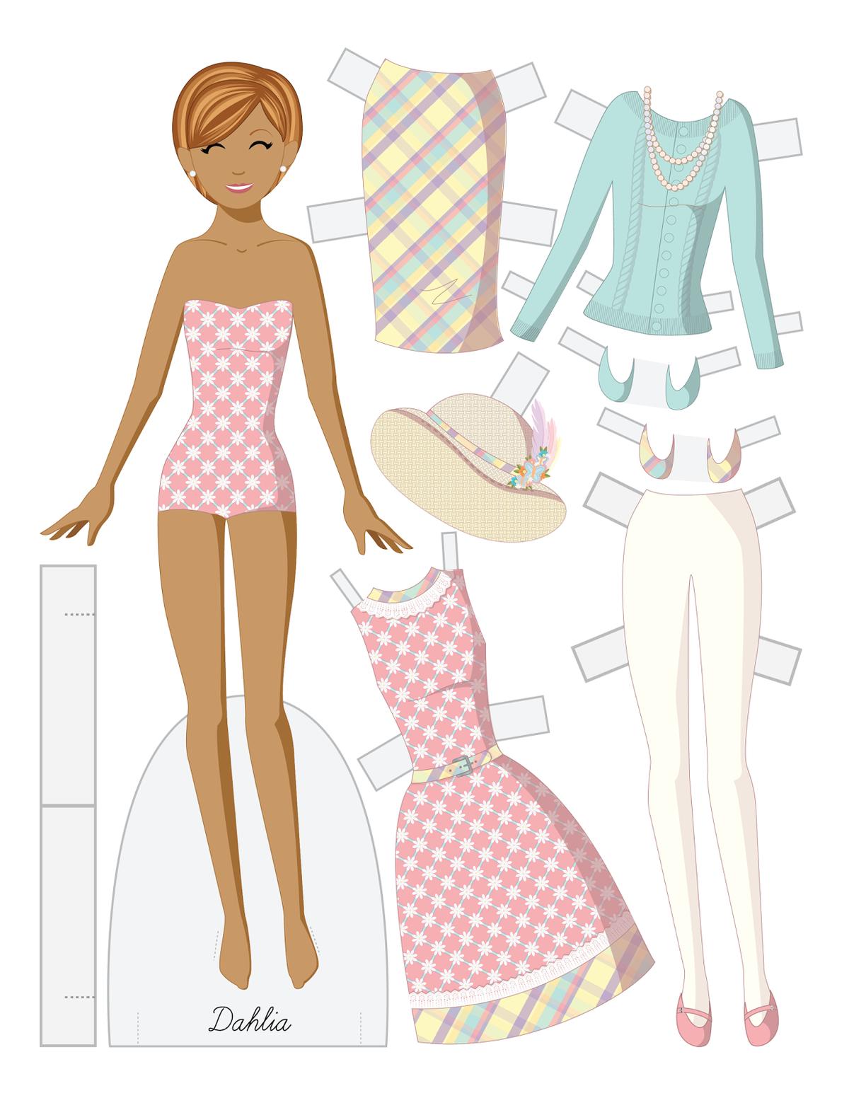 Кукла для вырезания с одеждой шаблон