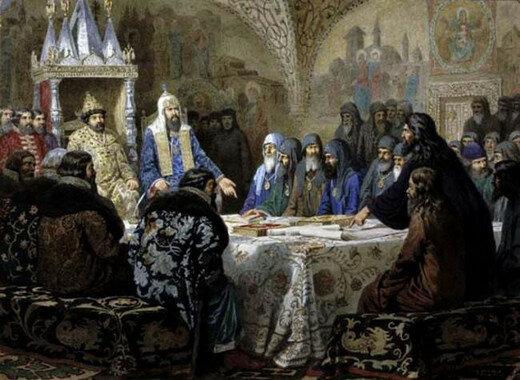 Церковный cобор. 1654 год. Начало раскола. Алексей Кившенко, 1880