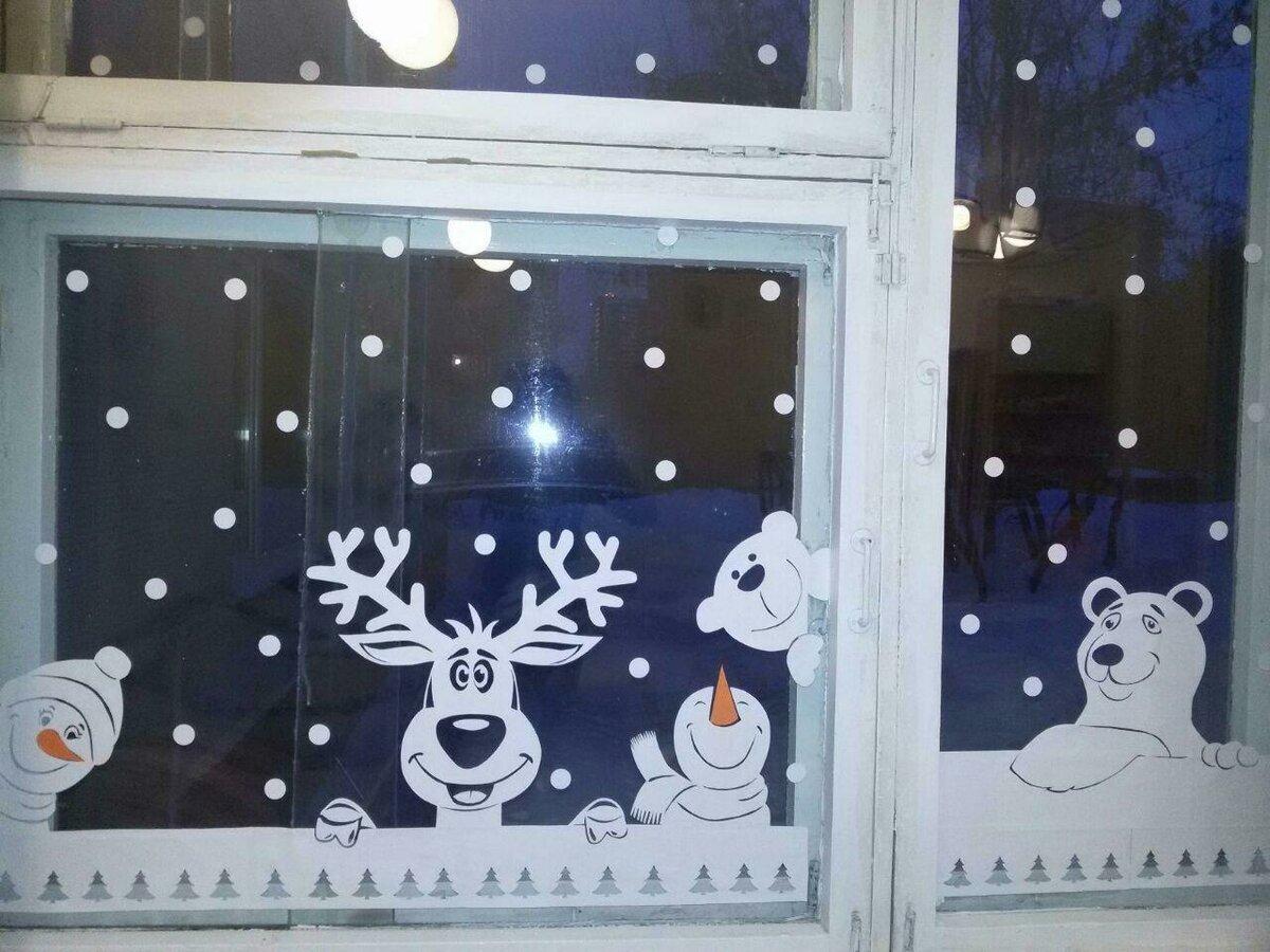 Зимние картинки для детского сада на окна