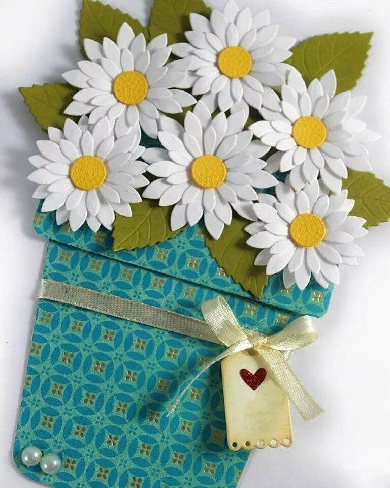 Открытка с букетом цветов своими руками