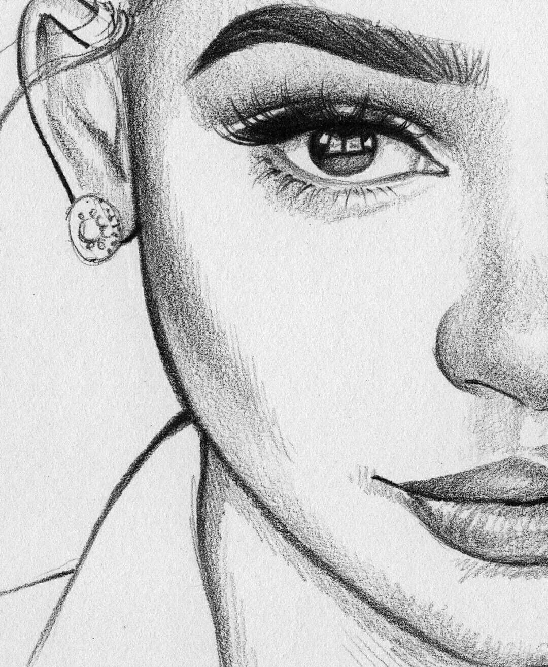 Картинка для срисовывания карандашом девушки
