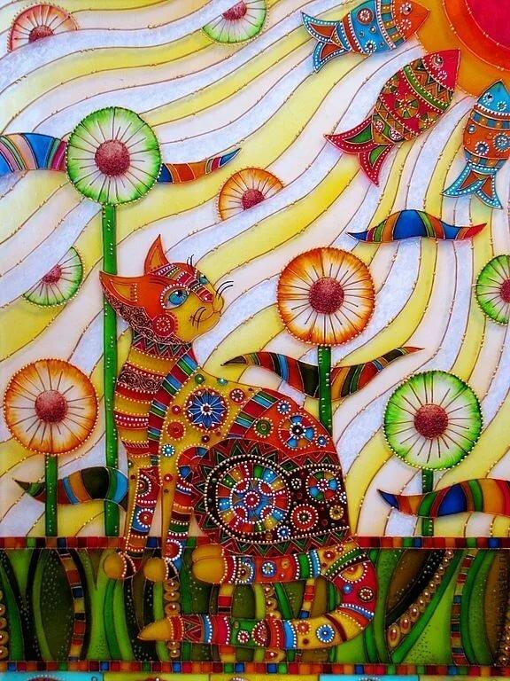 батик коты картинки абстракция всеми