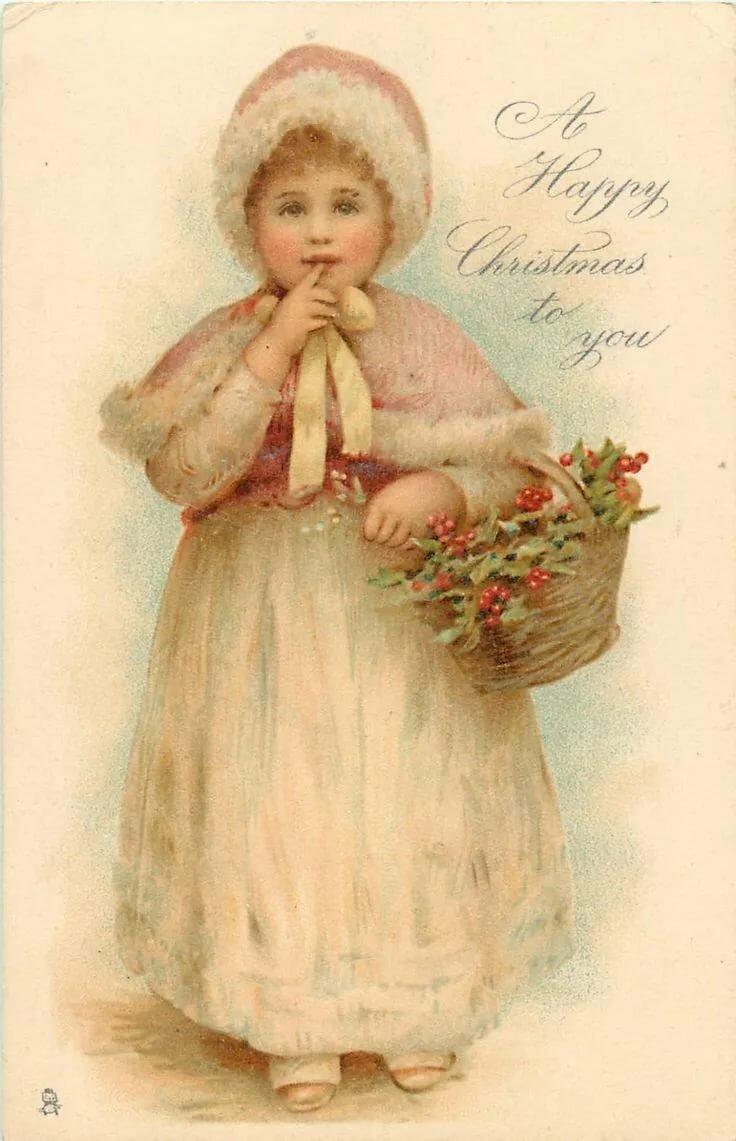 Старинные рождественские открытки с детьми