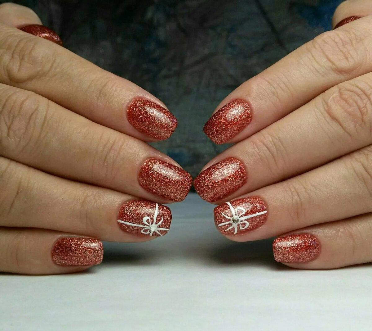 гелевое покрытие на свои ногти фото новогодние весёлые человечки встретились