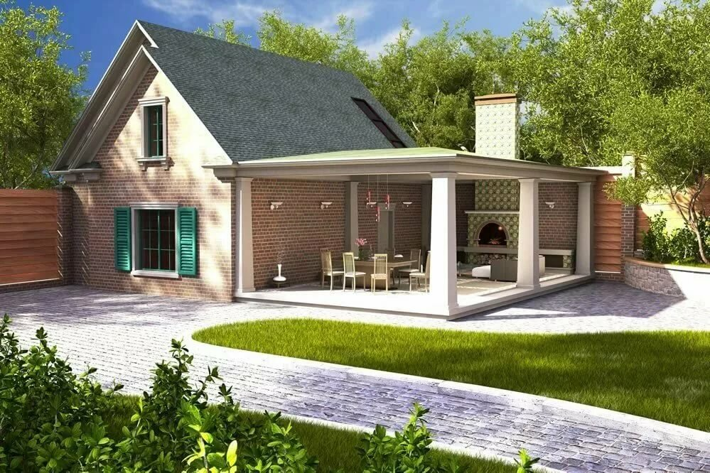 Дома с пристроенными гаражами фото