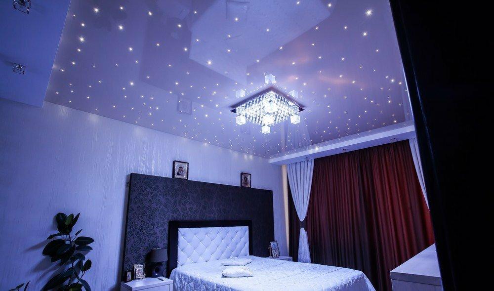 потолок в зале сиренево розовое звездное небо фото как отдельное помещение