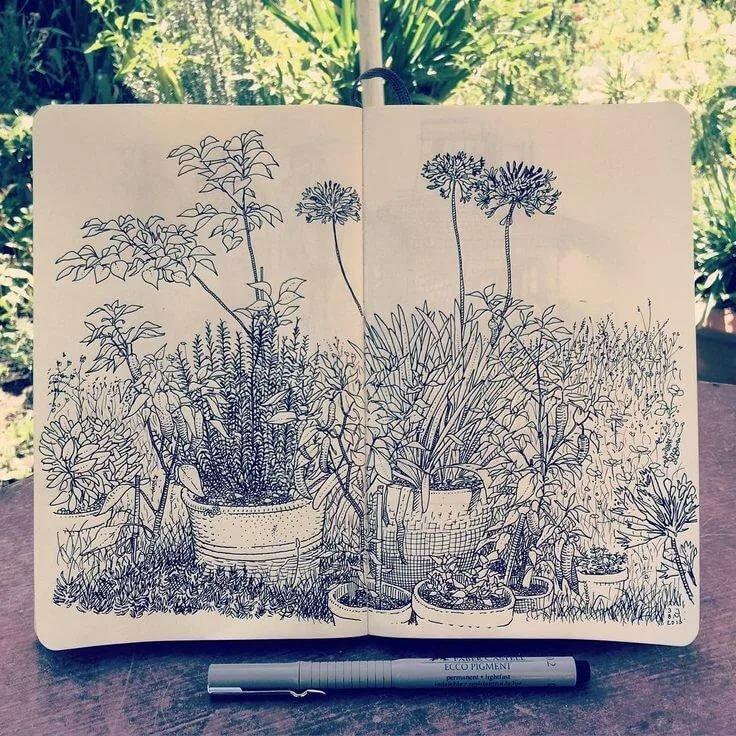 Картинки скетчбука лес легкий любого возраста