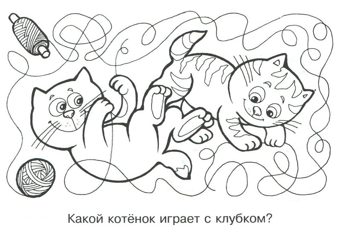 «Раскраска котенок с клубком скачать и распечатать ...