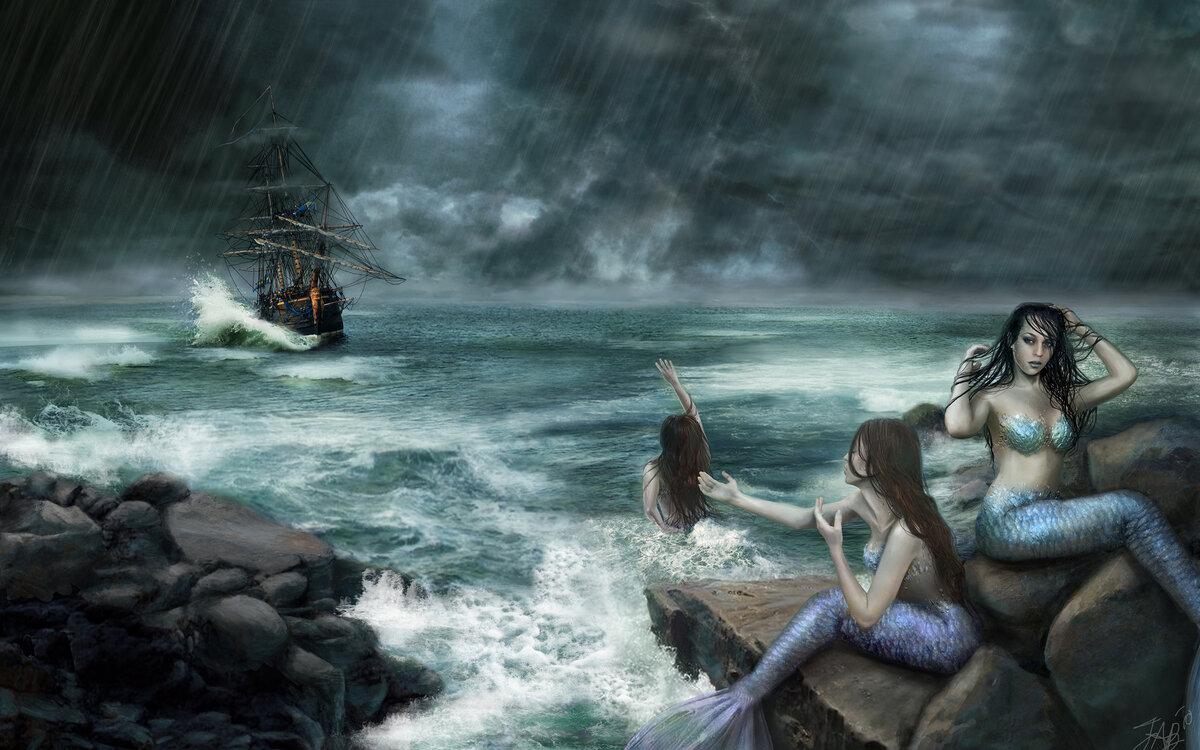 русалка у затонувшего корабля фото здесь