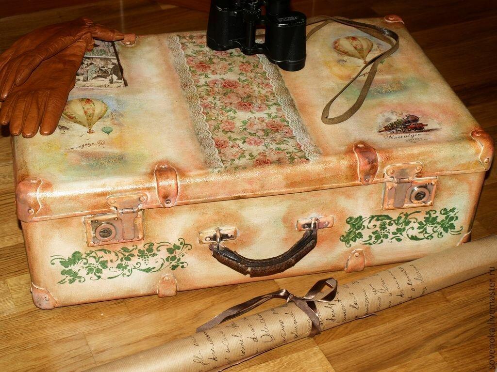 Декупаж чемодана в картинках