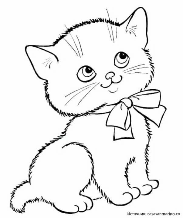 Картинка контур котенок