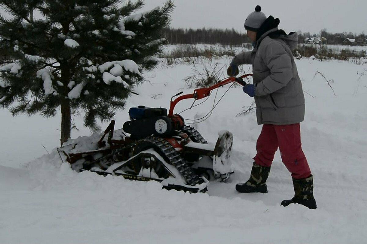 Снегоходная приставка Крутец к мотоблоку