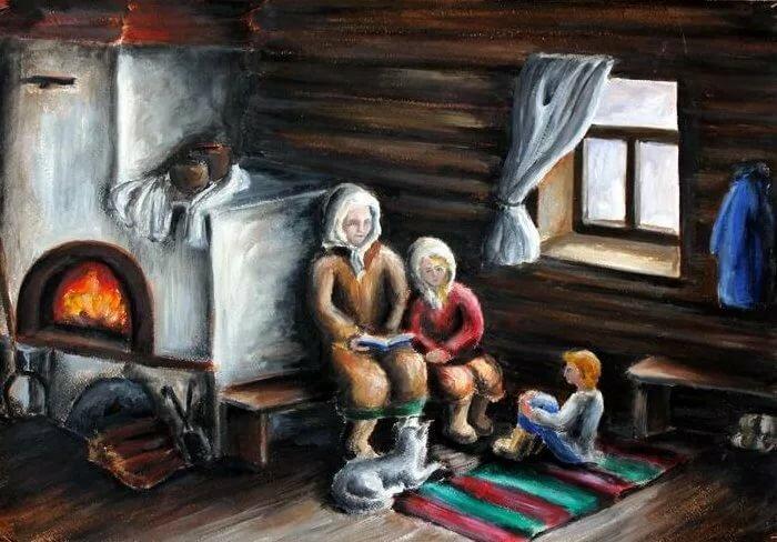 Картинки у печки в деревне
