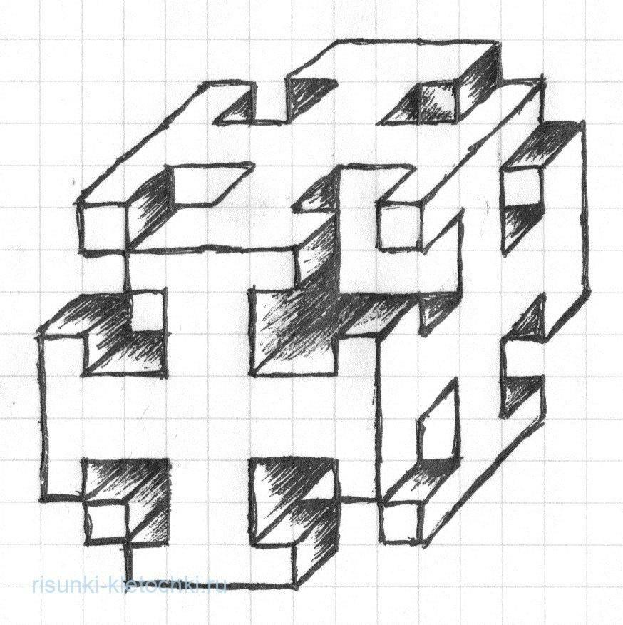 рисунки из кубиков в тетради ак барс