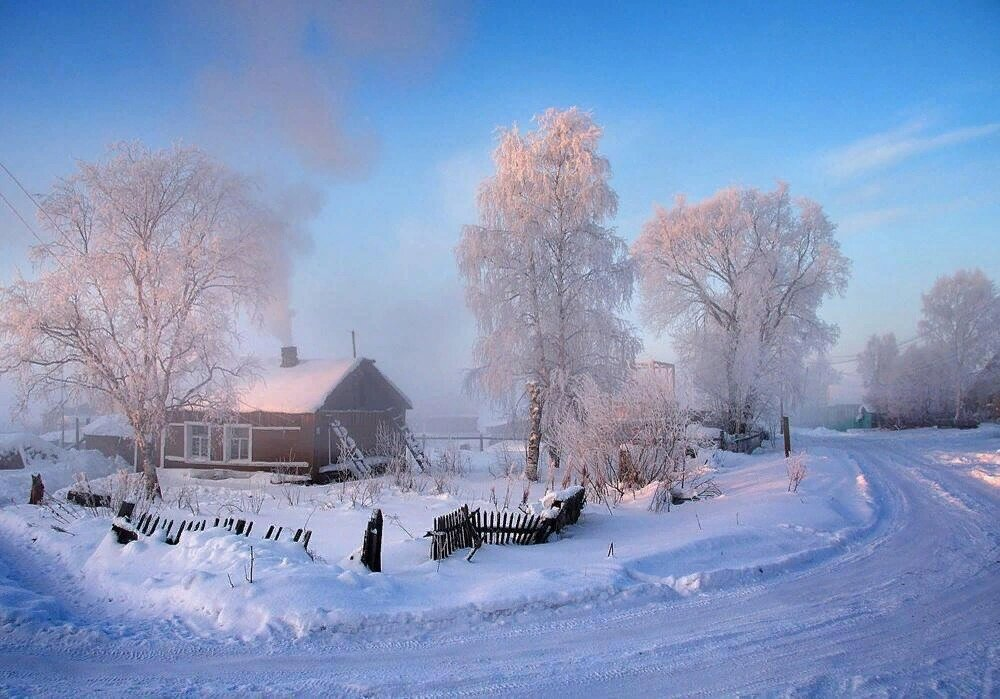 Картинки снег в деревне
