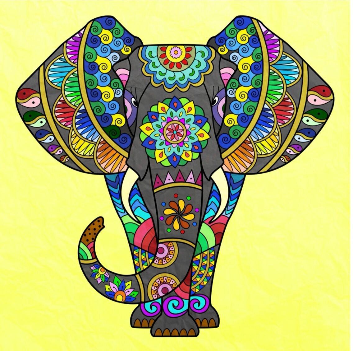 Картинки росписи индийских слонов