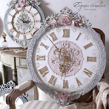 скульптурная живопись декупаж часы