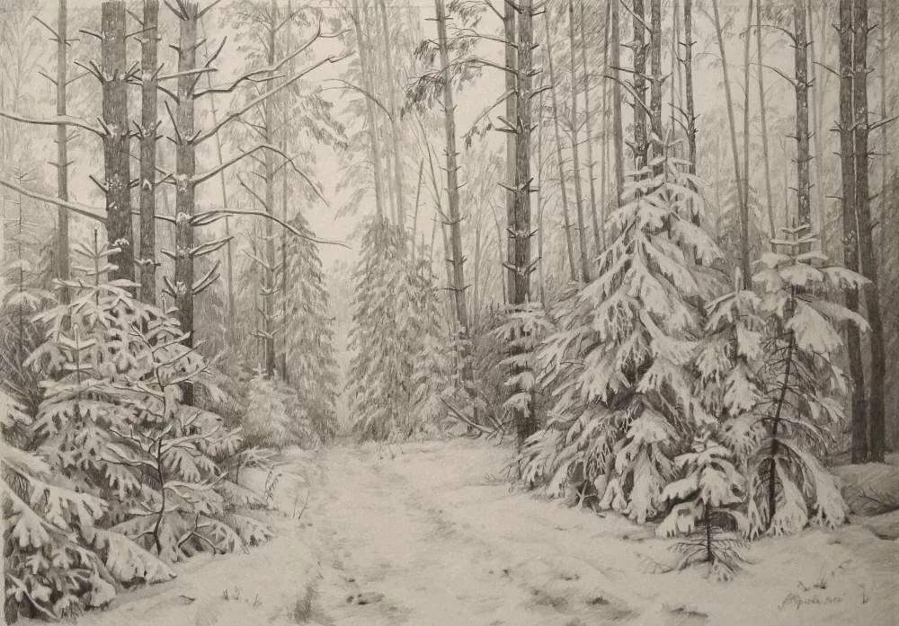 лес зимой рисунок легкий себе смартфон