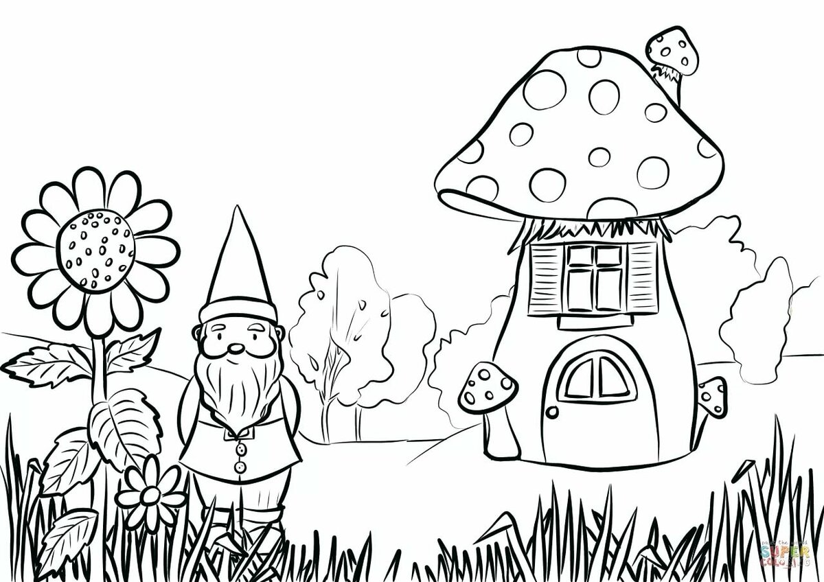 сказочный домик раскраска для малышей многих