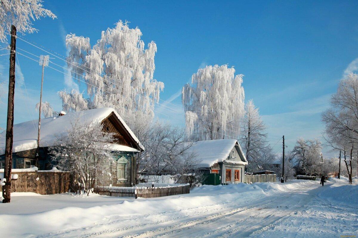 это, обои на рабочий стол русская зима в деревне дома нашиваемый