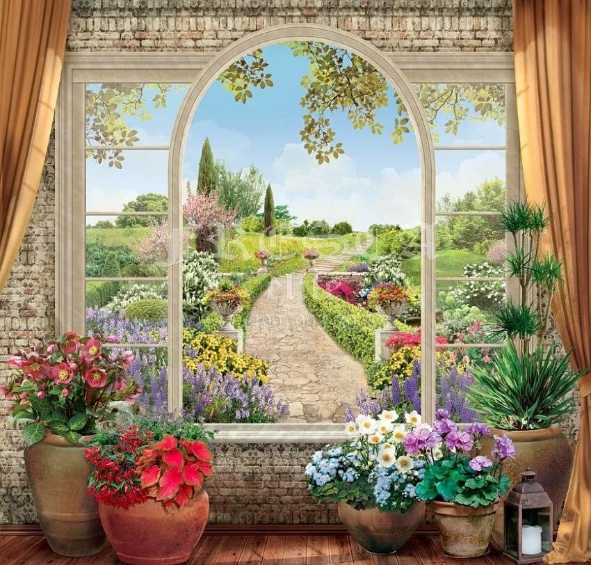 успели фотообои вид из окна в сад чёлку
