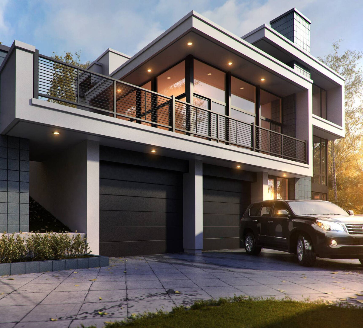 клеймения проекты загородных домов в стиле хайтек фото палисадники оформляются