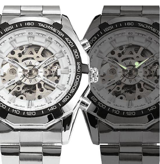 Люминисцентное покрытие стрелок часов Winner Luxury White видно в темноте